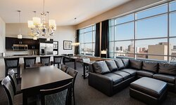 Enjoy the views of downtown through the large, penthouse windows.