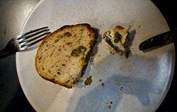 White anchovy, capers, with a bit of their savoury bread.