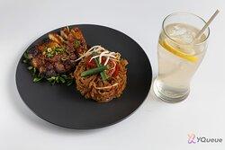 Pan Seared Chicken w/ Stir fried oat fibre flat noodles in Sambal Belachan (For Spicy Adventure)