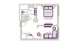 First Class King Junior Suite floor plan
