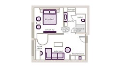 First Class King Junior Suite with Kitchenette floor plan
