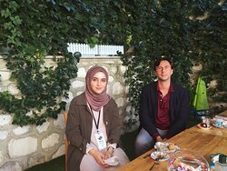 The garden of the Center is something else during the summer! Our volunteer Hatice hosts a visitor from Spain.