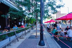 Outdoor parklets make their way to Ohio City, Cleveland. Enjoy dinner along the backdrop of Cleveland's historic neighborhood.
