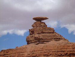 Mexican Hat Rock formation close