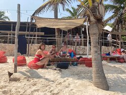 The shade are we enjoyed all day on the beach at Pocna (Ramón restaurant seen behind us)