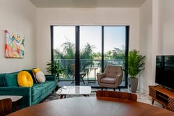 Full sized living areas and balconies where you can enjoy the Miami weather