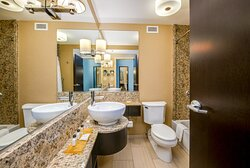 Our guest bathrooms have plenty of counter space to get ready.