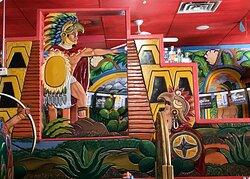 Colorful interior dividing wall