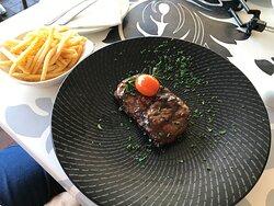 ...250g sirloin-steak & chips..