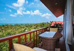 The comfort and relaxing seating on the balcony of Siri Dara Samui