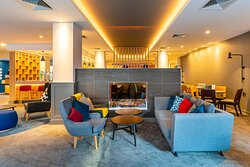 Sit back and relax in our colourful and contemporary hotel lobby!