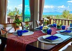 You can enjoy panoramic views overlooking the beautiful tropical island of Koh Samui from the dining room of Siri Dara Samui