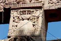 The Southern Gateway ( Torana ) of Stupa  No. - 1 , Sanchi……… Worshipping By people