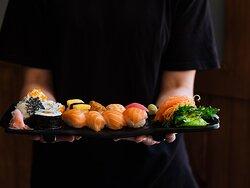 Sushi and sashimi paltter