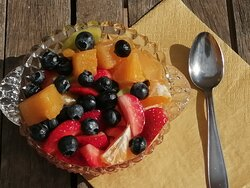 Fresh fruit salad included in Ariadne's Breakfast and Pic-Nic Basket (in a jar).