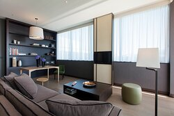 King Club Suite, living room with large terrace