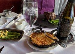 Dinner.  Filet.  Potato's to share. Asparagus.