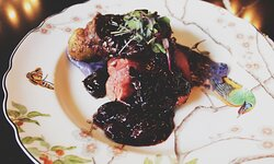 Beef Tenderloin / 24 Maple sunchokes, purple potato aligote, cherry bordelaise
