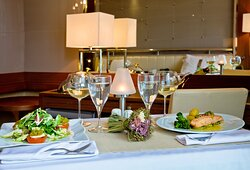 Order up a delicious dinner with room service