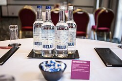 Bottled water for guests in meeting rooms