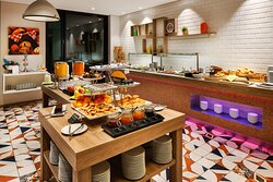 Freshly prepared choices from the buffet breakfast.