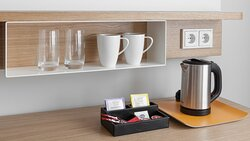 Tea and coffee-making facilities are available in guest rooms.