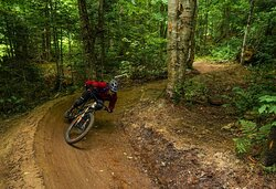 Beautiful berms and flow on the newly refurbished mountain bike trails make for smooth sailing.
