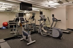 Our fitness center has both cardio machines and free weights avail