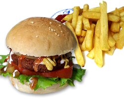 Vegetable burger with french fries