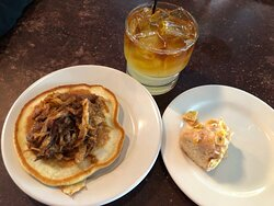 Storm Rhum Bar and Bistro - Pancake with maple pulled pork.  Doughnut with mango and crunchy cheese grits.