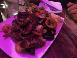 The combo plate for 2 - steak and seafood - delicious!