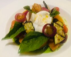 Burrata and heirloom tomato salad - the most perfect marriage of cheese and tomatoes I have ever tasted.