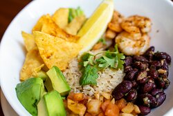 Cajun Taco Bowl (Chicken, beef)  Red kidney, beans, tomato salsa, avocado, brown rice, asparagus tips, corn chips, coriander leaves