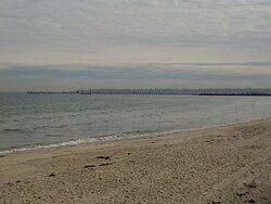 Mordialloc Pier as seen from North end of Aspendale Beach