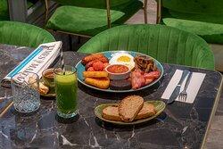 Brunch menu- manon english delight and super cleanout juice