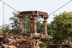 Hindola Torana, Gyaraspur, Vidisha, Madhya  Pradesh ,India. Chaukhamba ( Four Pillars )  9-10th century This monument, The Four Pillars, are within the Hindola Torana complex. This seems to be the mandapa of the temple, which entrance gate would have been Hindola Torana.