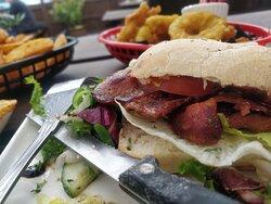 Overfilled ciabatta sandwich