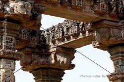 Detail of Carving , Sculptures on upper horizontal beams & Pillars , Hindola Torana, Gyaraspur, Vidisha, Madhya Pradesh ,India. Chaukhamba ( Four Pillars ) 9-10th century This monument, The Four Pillars, are within the Hindola Torana complex. This seems to be the mandapa of the temple, which entrance gate would have been Hindola Torana.Detail of Carving , Sculptures on upper horizontal beams & Pillars , Hindola Torana, Gyaraspur, Vidisha, Madhya Pradesh ,India. Chaukhamba ( Four Pillars ) 9-10th