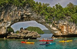 Natural Arch is one of the spectacular wonders of Palau. It has been beautifully shaped through weathering which can be easily passed in a boat. The size appears to be at least 15 meters wide and 9 meters high and is made of limestone. Snorkeling under this arch is as beautiful and majestic as paddling through it. It is everything you would expect of a Pristine Paradise. Website: http://paddlingpalau.net/