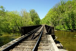 Railroad tracks near the end at the French Broad River