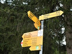 signpost at Les Oeuillons (1014m asl)