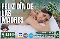 Promoción especial para todas las mamis 🥰👭🏻  Adquiere un masaje con duración de 60 minutos y obtén: Un facial o Spa de pies de cortesía 💆🏻🍃  ✨Válida únicamente 10 de mayo ✨  Estamos ubicados en la 4ta sur poniente 💆🏻♂  # 9⃣2⃣3⃣🇨 Entre 8 y 9 poniente 🛣️🌳