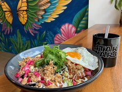 Chilaquiles Special with Sauce Maya and Cochinita