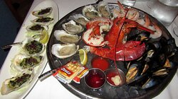 Chilled Seafood Tray wand Roasted Oysters Rockefeller