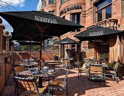 Outdoor seating is available at the Capital Burger Boston