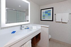 Enjoy the spacious counters for your additional toiletries!