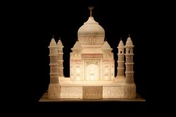 hand carved marble taj mahal , for the purpose of decoration with or without multiple small or an  individual big  light inside  completely hand made by the same family  artists who built the taj mahal