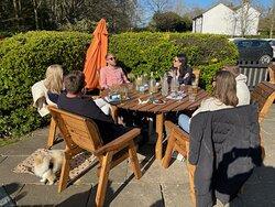 Enjoying the English sunshine at The Olive Tree!