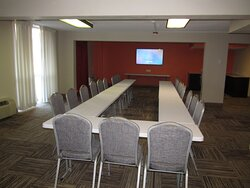 Meeting Room - can accommodate 30 people classroom style or U-shaped, 50-60 Banquet and 75 Theater Style.