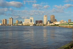 The best view of New Orleans is found at Crescent Park, just beyond the dock railyard.  Unlike before a few homeless citizens were there, but walkers, bikers and dog owners populate the place and no one gives you a hassle.  Just visit in the day time.